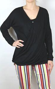 Damen-Shirt-Langarm-in-Wickel-Optik-schwarz-V-Ausschnitt-in-95-Viscose-neu-k566