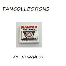 Lego - X1 White Tile 2 x 2 with 'WANTED THE JOKER' Poster , 3068bpb1044 NEUF