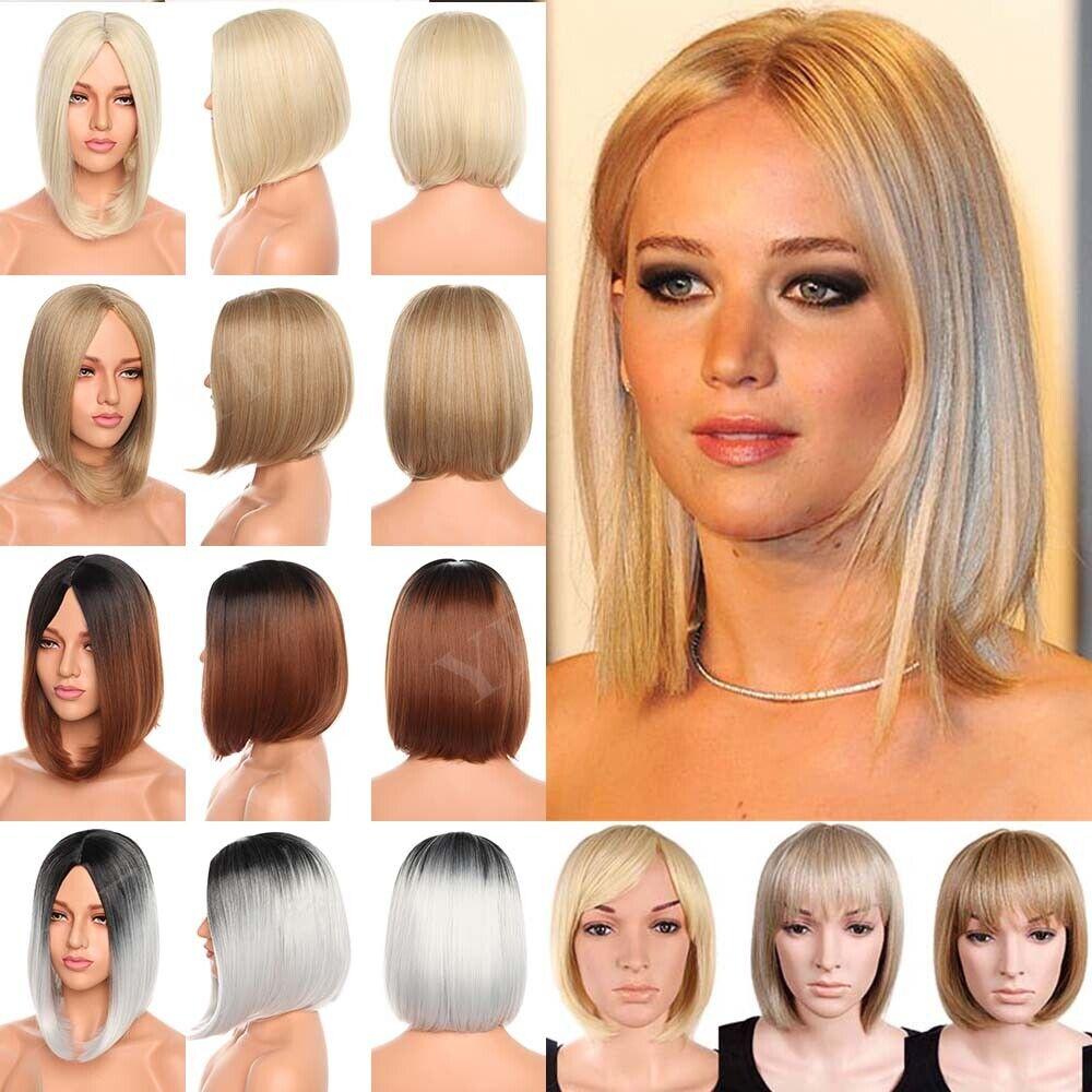 Ladies Wig Short Page Bob Fringe Ombre Red Brown Braun Blonde