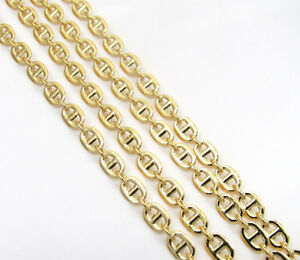 20-24-034-3mm-10k-Yellow-Real-Gold-Tight-Mariner-Anchor-Curb-Chain-Necklace-Mens