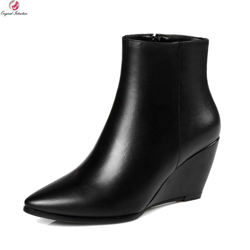 Women Boots Real Leather Pointed Toe Wedges Boots Black Shoes Plus US Size 3-13
