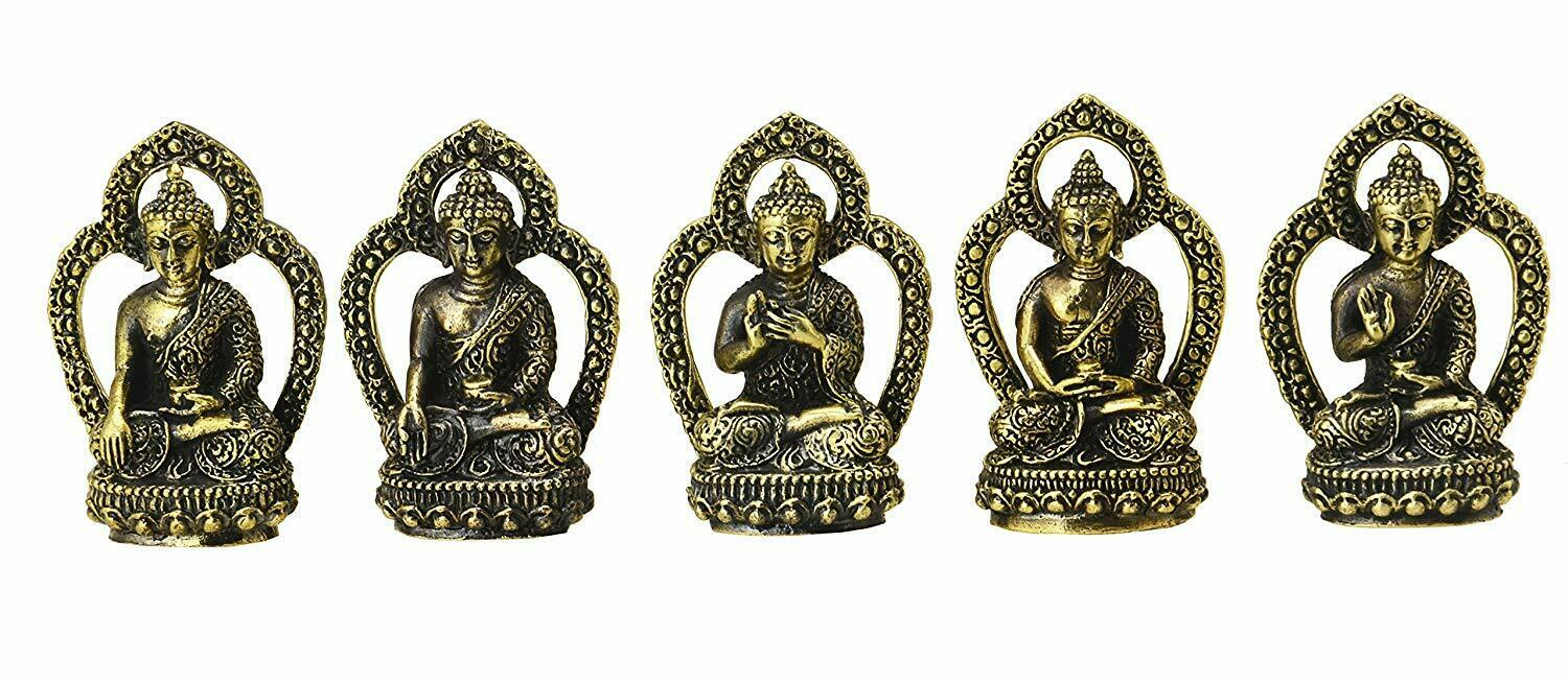 Buddha Mudras 5 Hand Positions of The Buddha Tibet Brass Set Handicraft Gift