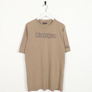 Vintage-Kappa-Grande-Incantesimo-fuori-Logo-T-Shirt-Maglietta-Beige-Grande-L
