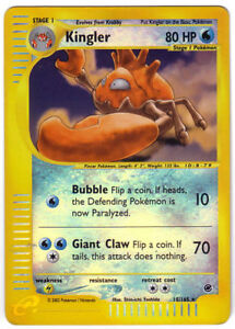 POKEMON • Kingler REVERSE HOLO Expedition 80HP 15/165 ORIGINALE NM