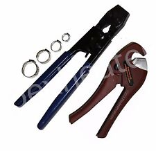 Starter Kit PEX CINCH CRIMP CRIMPING TOOL 30 1/2 and 3/4  SS CLAMPS TUBE CUTTER