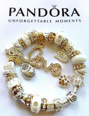 AUTHENTIC PANDORA Sterling Silver Barrel Clasp Charm Bracelet Gold Love White