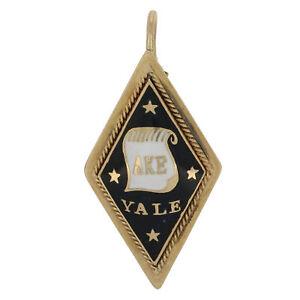 Delta-Kappa-Epsilon-Colgante-14k-Oro-1907-Yale-Fraternidad-Negro-Esmalte-Viejo