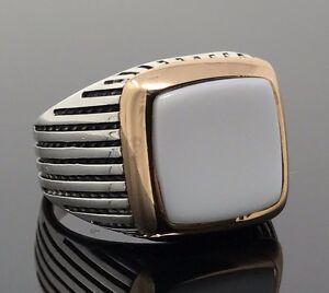 925-Sterling-Silver-White-Onyx-Men-039-s-Square-Ring-K52H-Best-Gift-for-Him