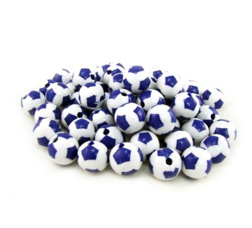 Lot de 10 Perles Ballon de football Bleu en Acrylique 12mm Creation bijoux
