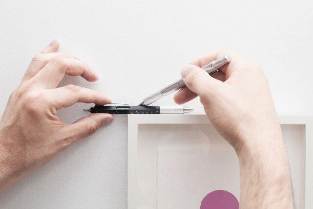 Kikkerland 4 in 1 Pen Multi Tool Silver Screwdriver Level Ruler & Pen DIY Gadget