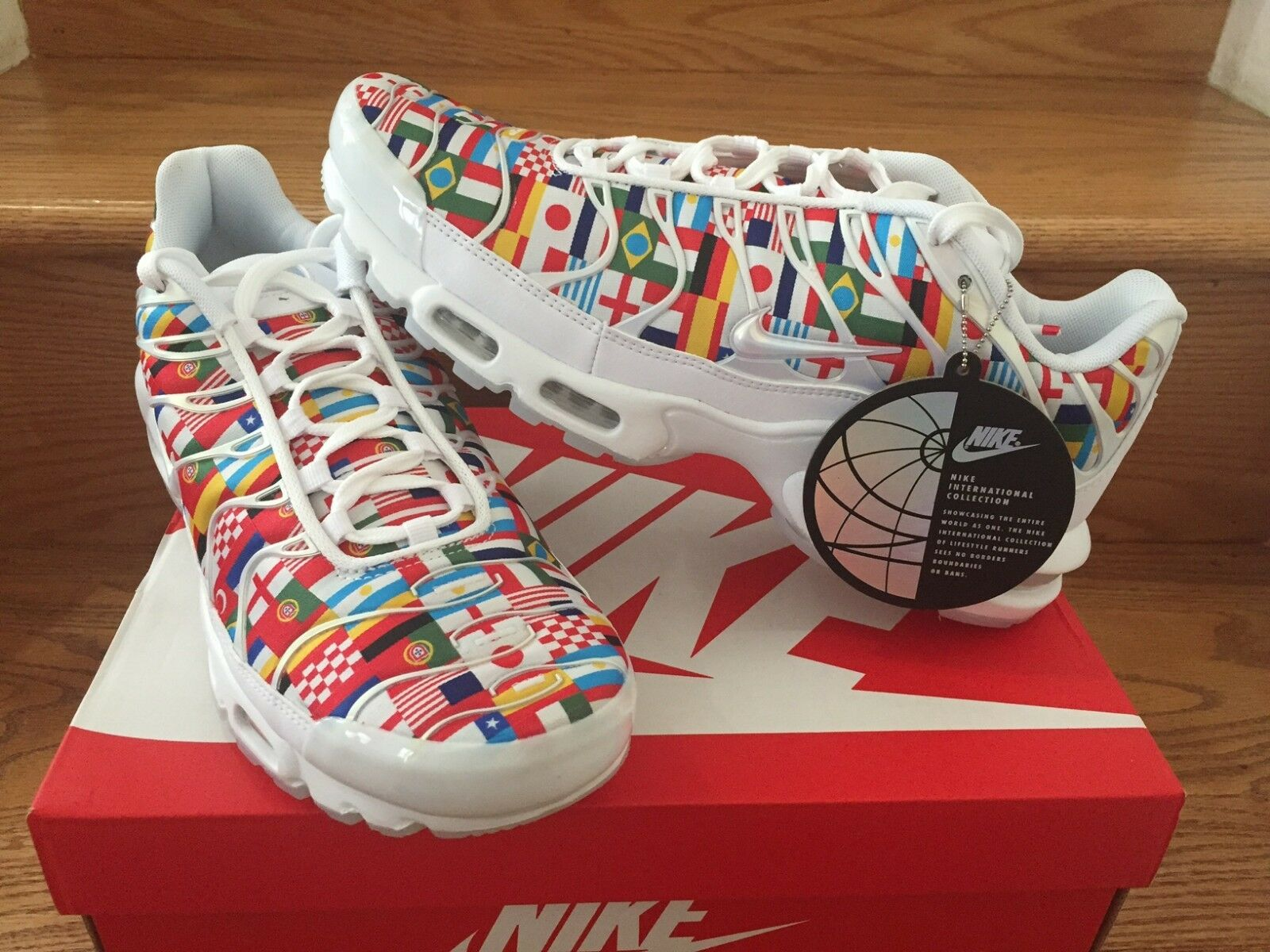 Nike Air Max Plus NIC AO5117-100 White Multi World Cup Flags Uomo Size 4-13 New