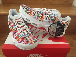 Details about Nike Air Max Plus NIC AO5117 100 White Multi World Cup Flags Men Size 4 13 New