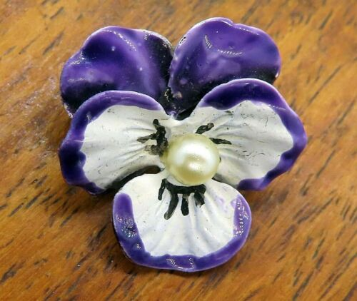 Vintage silver PANSY FLOWER PEAR BEAU BEAUCRAFT E… - image 1