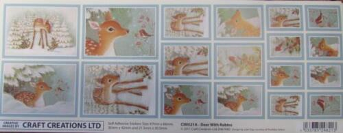 Self Adhesive Sticker Christmas Deer With Robins New