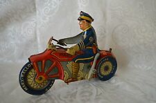 Vintage 1930s Marx Tin Wind Up Police Motorcycle Toy Works! HD60 NICE