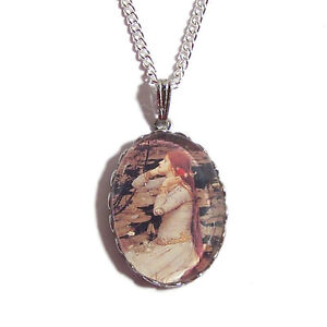 OPHELIA-Pre-Raphaelite-necklace-boho-silver-waterhouse-art-painting-victorian