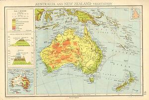 Australia Map Mountains.1942 Map Chart Australia New Zealand Vegetation Mountains Ebay