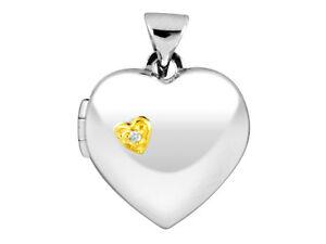 Pendentif-medaillon-ouvrant-coeur-plaque-or-avec-zircon-Argent-925-1000