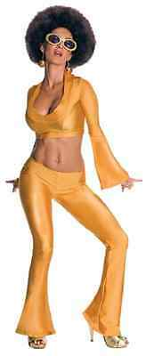 Solid Gold 70's Disco Dancer Retro Fancy Dress Up Halloween Sexy Adult Costume
