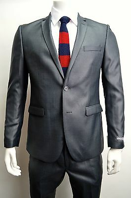 Men's Charcoal Gray Sharkskin 2 Button Slim Fit Suit SIZE 42R NEW
