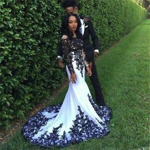 Black-Long-Sleeve-Lace-Wedding-Evening-Gowns-Formal-Pageant-Prom-Party-Dresses