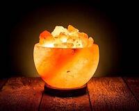 Himalayan Rock Salt Bowl Natural Lamp Crystal Soft Amber Hand Crafted Wood Base