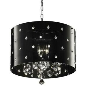3-Light-Chrome-Star-Ceiling-Crystal-Chandelier-10in-Dia-Black-Shade