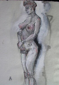 Heinz-EDER-1945-Dachau-stehender-weiblicher-AKT-sign-dat-1987