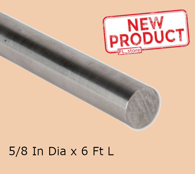 Stainless Steel Solid Round Rod Stock 1//2 Inches x 6 Ft 72 Inches Unpolished NEW