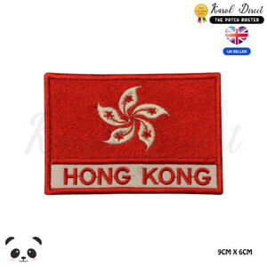 HONG-KONG-National-Flag-With-Name-Embroidered-Iron-On-Sew-On-Patch-Badge