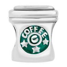 Green Coffee Takeaway Cup 925 Sterling Silver charm bead with velvet gift bag