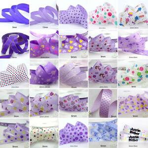 25x1Yard-Assorted-Satin-Grosgrain-Ribbon-Lot-3-8-034-1-5-034-Purple-Theme-Craft-Bow-A
