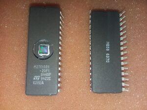 1x-ST-MICRO-M27C1001-20F1-1Mbit-128K-x-8-200ns-5V-UV-EPROM-32-PIN-CERAMIC-DIP