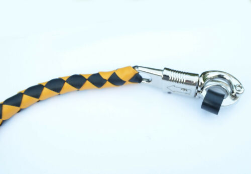 """BLACK PU Leather Motorcycle Whip Get Back whip with Skull Tassles 36/"""" YELLOW"""