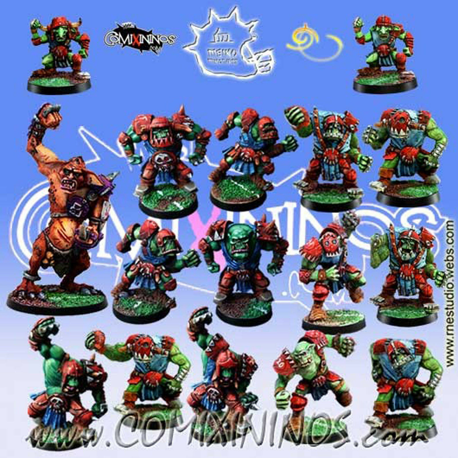 fantasyc Footbtutti - ORC squadra 16 Players with TROLL for  Blood Bowl - Meiko  fabbrica diretta