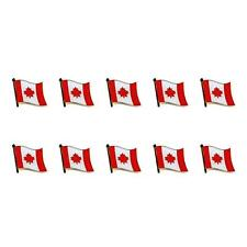 """LOT OF 10 CANADIAN FLAG LAPEL PIN 0.5"""" Canada Maple Leaf Pinback Hat Tie Badge"""