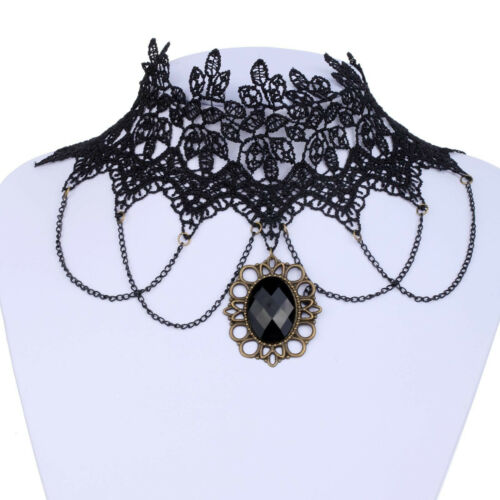 6L Gothic Victorian Romance Black Lace Chain Drop Choker Necklace Gift Boxed