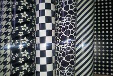 Self adhesive craft paper 6 sheets,pattern glossy black cream A4 decorative
