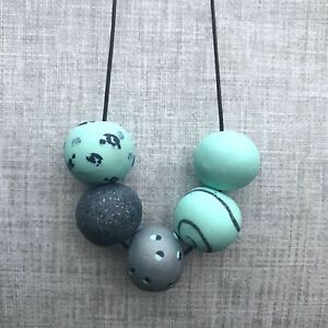 Handmade Chunky Clay Bead Necklace stacylhenstridge Aqua Silver Navy Polymer