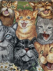 crazy cat tapestry throw wall hanging 40 X 52 In.