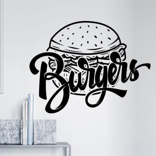 Burger bar wall sticker food restaurant cafe takeaway graphics decal art mt6