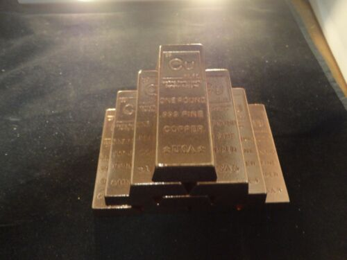 STACKABLE-INGOT-unique COPPER BAR LOT OF 10-1 POUND-TRAPAZOID Premium Bars