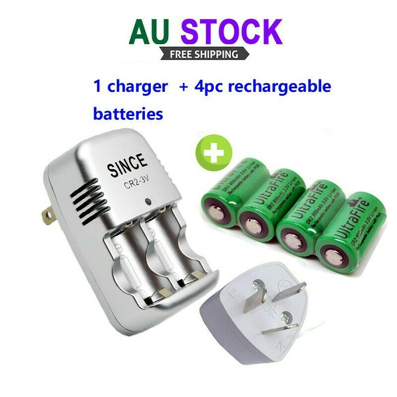 CR2 Battery Charger & 4PC UltraFire CR2 800mAh 3.0V Li-ion Rechargeable Battery