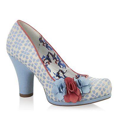 Señoras Ruby Shoo Eva Azul Cielo Tacón Alto Tribunal Zapatos Talla Uk 3