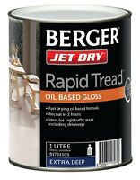 Berger Jet Dry Rapid Tread Paint Oil Based Gloss Extra Deep Driveways-1l Or 4l