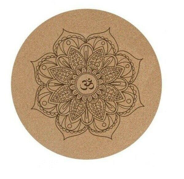 Round Yoga Mat Little Natural Cork NonSlip EcoFriendly Meditation Pilates Pad