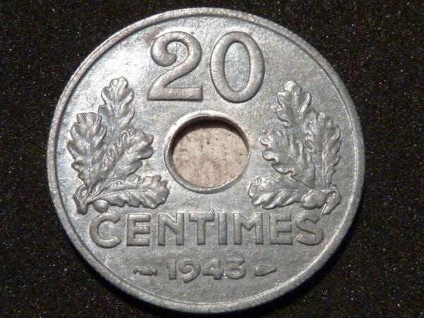 20 Centimes - Etat Francais - 1943 - Recherchee & Rare Qualite Sup à Sup+ !!! êTre Nouveau Dans La Conception