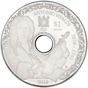 NEW-FIJI-1-Dollar-2018-Silver-78mm-playable-CD-coin-ANTONIO-VIVALDI-4-Seasons