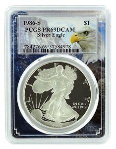 1986-S-1oz-Silver-Eagle-Proof-PCGS-PR69-DCAM-Eagle-Frame