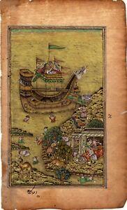 Hand-Painted-Indian-Miniature-Art-Miskin-Shah-Jahan-Noah-s-Ark-Mughal-Painting